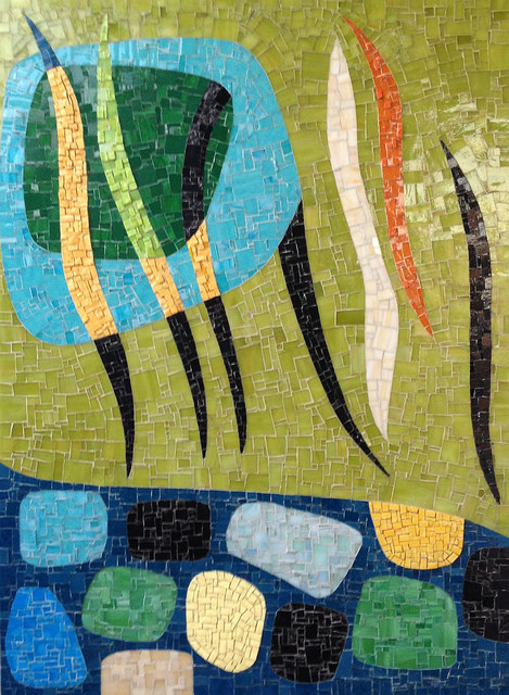 """""""FROM KARL BENJAMIN"""" by Larissa Strauss, Glass mosaic, 48"""" x 36,"""" 2012, Commissioned."""