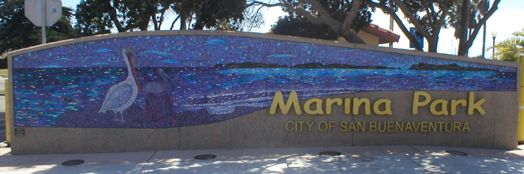 """MARINA PARK ENTRYWAY MOSAIC"" by Larissa Strauss. Marina Park Entryway, Glass Mosaic, 5′ x 26,' 2006. Commissioned by the City of Ventura."