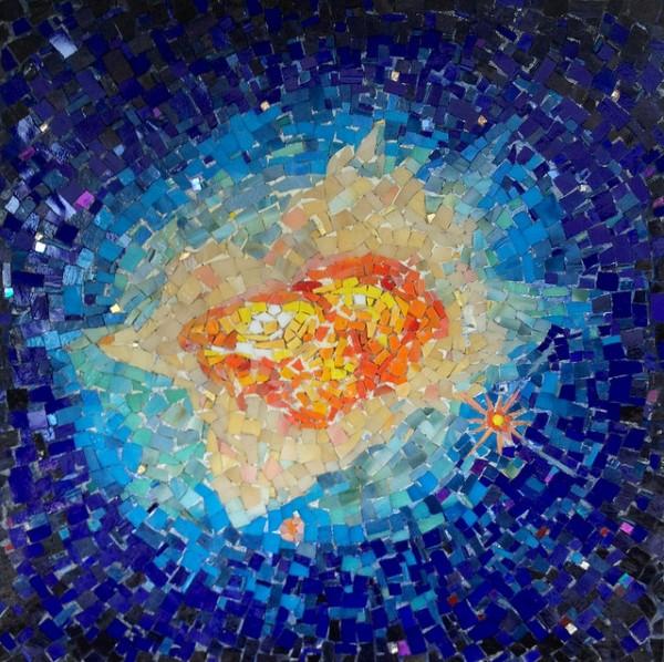 """""""NEBULA BURST"""" by Larissa Strauss, Glass mosaic,16"""" x 16,"""" 2009, Available."""