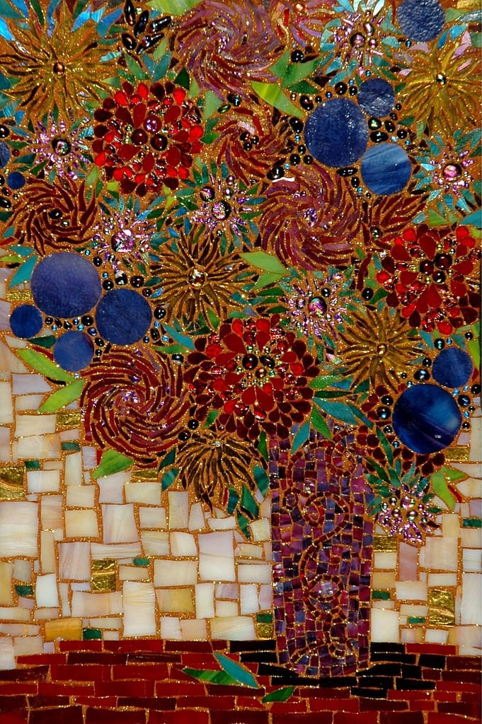 """""""WHIMSICAL FLOWERS"""" by Larissa Strauss. Fused and stained glass mosaic, 19″ x 14,"""" 2006, Sold."""